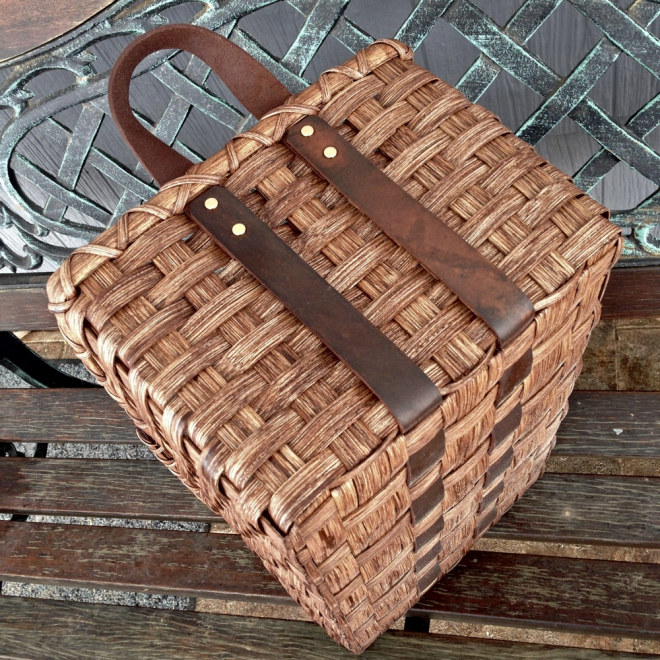 Leather Handled Storage Basket
