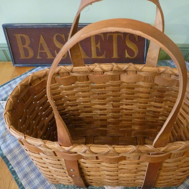 Leather Handled Tote Basket