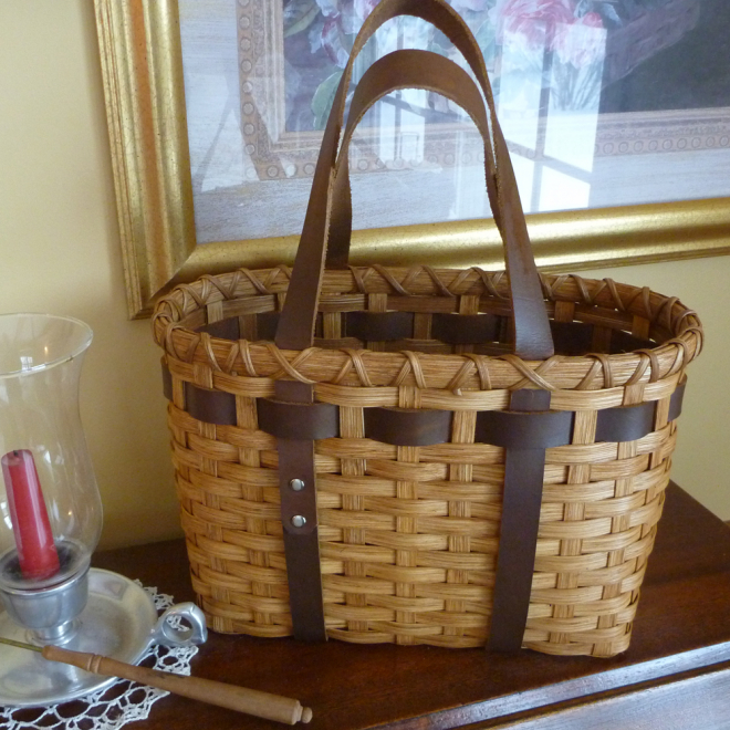 Little Leather Handled Tote Basket
