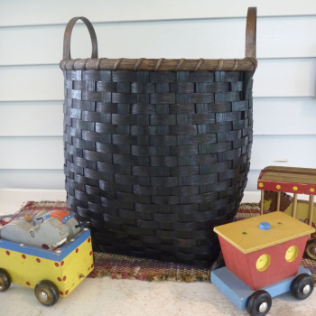 Wooden Bottom Toy Basket - Painted